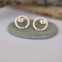 Hammered Circle Studs with Gold hearts - handmade sterling silver