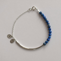 Sterling Silver Bar Bracelet with Lapis Lazuli and charms