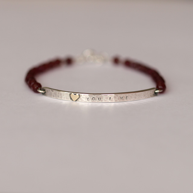 Personalised Silver Bar Bracelet with Gold Heart and Red Agate