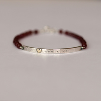 Hammered Silver Bar Bracelet with Gold Heart and Red Agate (you & me)