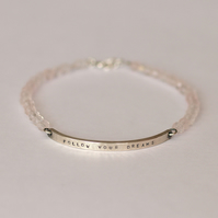 Hammered Silver Bar Bracelet with Personalised Message and Faceted Rose Quartz