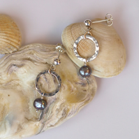 Blue Pearl Dangle Earrings with Hammered Sterling Silver Rings