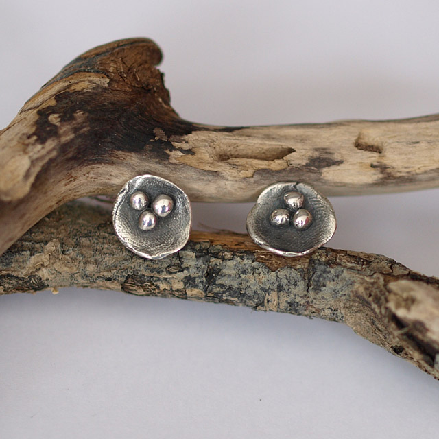 Oxidized Silver Nest Stud Earrings - Nature inspired jewellery gifts