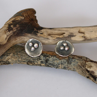 Oxidized Silver Nest Stud Earrings - handmade fine silver jewellery