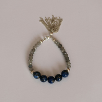 Lapis Lazuli and Labradorite Bracelet with Tassel - handmade beaded jewellery