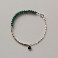 Silver Bar Bracelet with Turquoise and Iolite - women's handmade jewellery gift