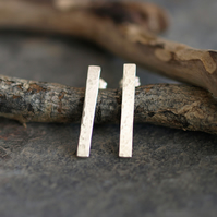 Sterling Silver Bar Studs, handmade rectangular hammered textured jewellery