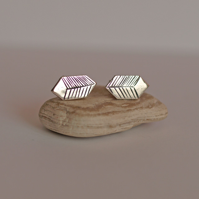 Silver Geometric Hexogon Cube Stud Earrings