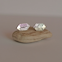 Graphic Print Hexogon Cube Earrings - handmade sterling silver - women's gift