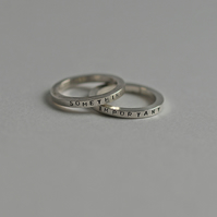 Double Stacker Sterling Silver Rings with Personalised Messages