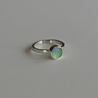 Sterling Silver and Paua Shell Ring - Nautical jewellery - hammered silver