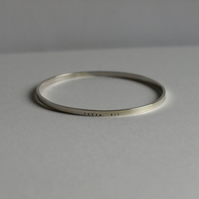 Handmade Sterling Silver Men's Message Bangle - Dream Big - Custom Message