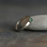 Emerald Ring with Slim Hammered Sterling Silver Band