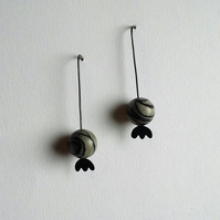 Oxidized poppy seed head threader earrings with spider web japser - minimal