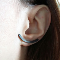 Curved Bar Stud Earrings in Oxidised Sterling Silver, Minimalist Jewellery