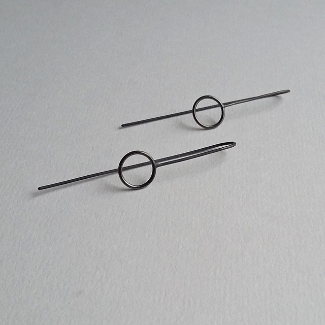 Minimalist Oxidized Earrings with Circle Detail, minimal threader earrings