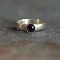 Sterling Silver Ring with Iolite Cabochon, hammered textured silver