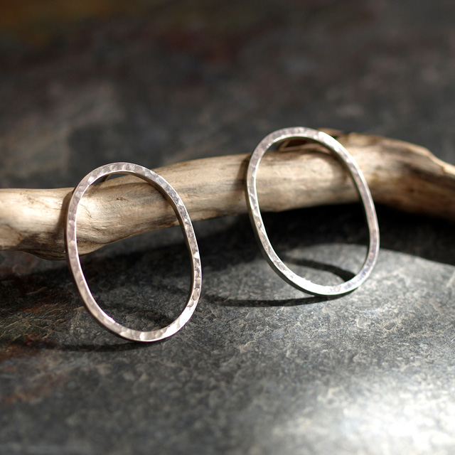 Hammered Sterling Silver Oval Hoop Stud Earrings - Handmade Jewellery