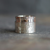Stacking Rings in Sterling Silver - Handmade Personalised Custom Message