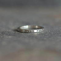 Sterling Silver Personalised Message Ring - Love You Always - Handmade