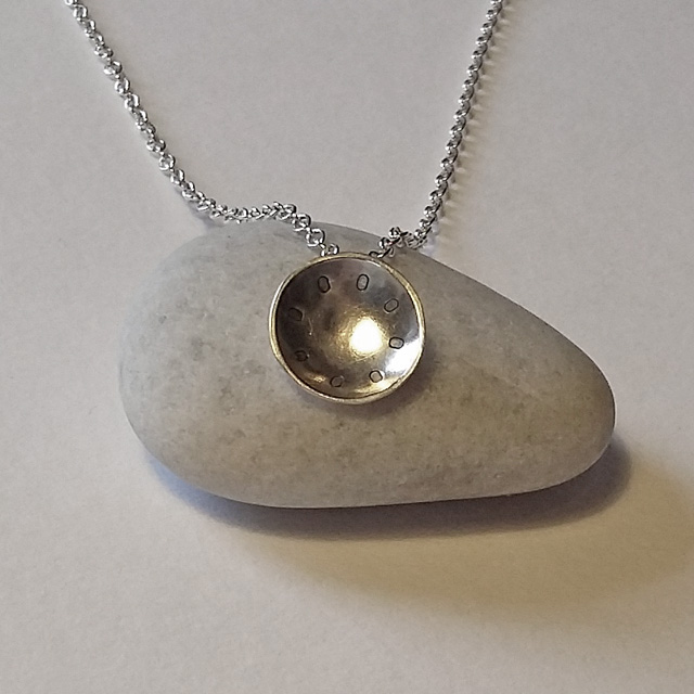 Sterling Silver Dome Pendant with Circle Ring Detail - Handmade Jewellery