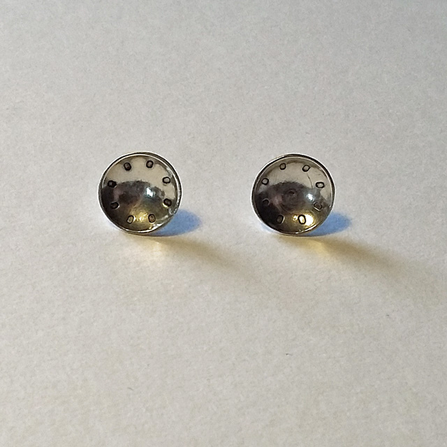Sterling Silver Dome Stud Earrings with Circle Ring Pattern - Handmade