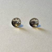 Small Circle Stud Earrings, Sterling Silver Dome Studs