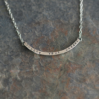 Sterling Silver Message Bar Necklace - Follow Your Dreams - Handmade
