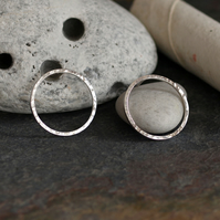 Large Hammered Sterling Silver Circle Stud Earrings - Handmade Jewellery
