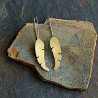 Brass Feather Threader Earrings - handmade nature inspired earrings jewellery