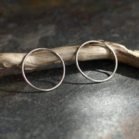 Ring Stud Earrings, Sterling Silver Circle, Hoop Large Studs