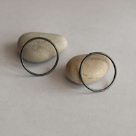 Oxidized Hoop Stud Earrings - handmade minmimalist sterling silver jewellery