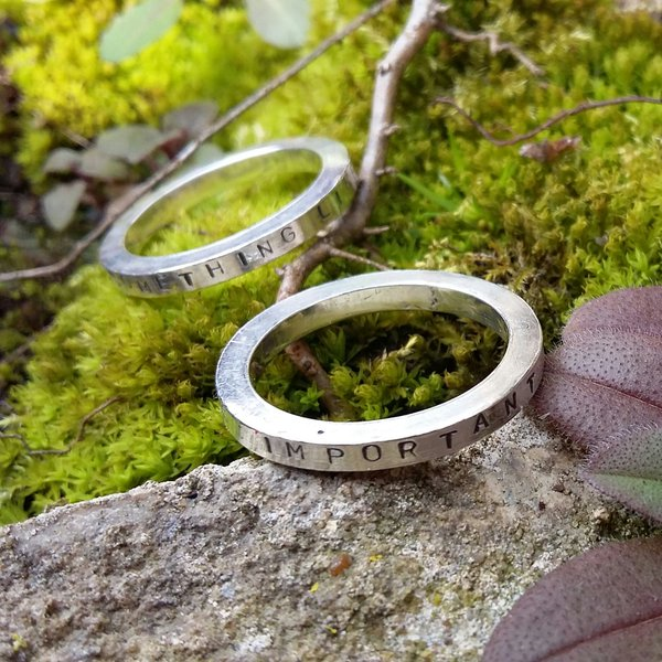Sterling Silver Stacking Rings with Personalised Messages