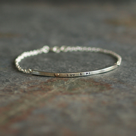 Sterling Silver Bar Bracelet with 9ct Yellow Gold Heart and Custom Message