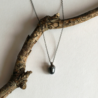 Acorn Pendant Necklace, oxidised silver jewellery