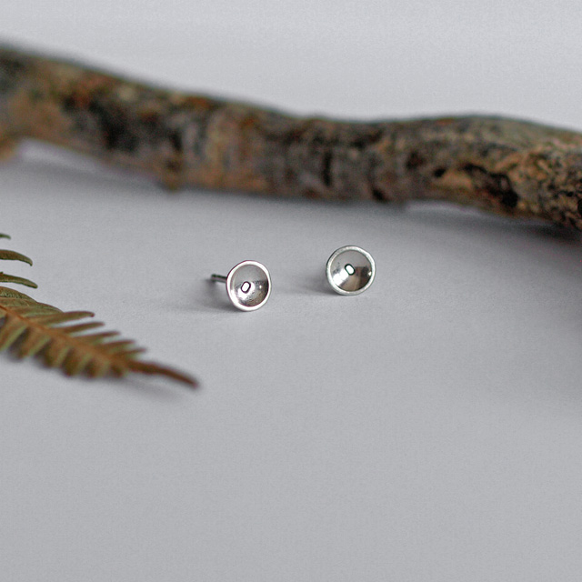 Tiny Sterling Silver Dome Stud Earrings with Circle Detail
