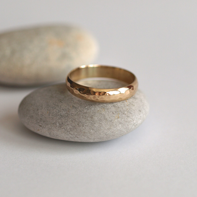 Hammered 9ct Yellow Gold Wedding Ring