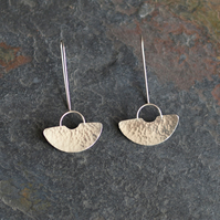 Hammered Silver Earrings, Semi-Circle Art Deco Inspired