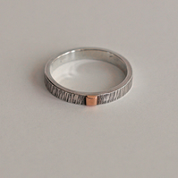 Silver and Copper Textured Ring, Men's Jewellery
