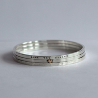 Personalised Silver Stacking Bangles, with gold heart and message
