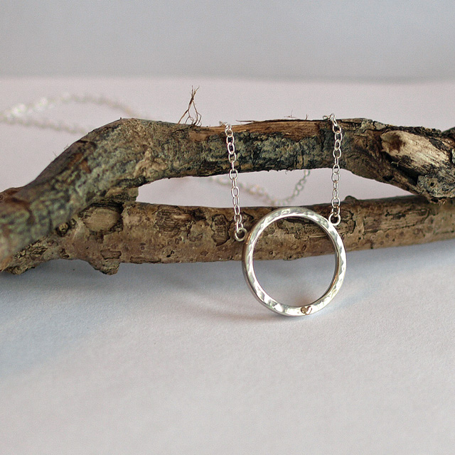 Hammered Silver Ring Necklace with Gold Heart, sterling silver necklaces