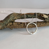 Hammered Silver Ring Necklace with Gold Heart