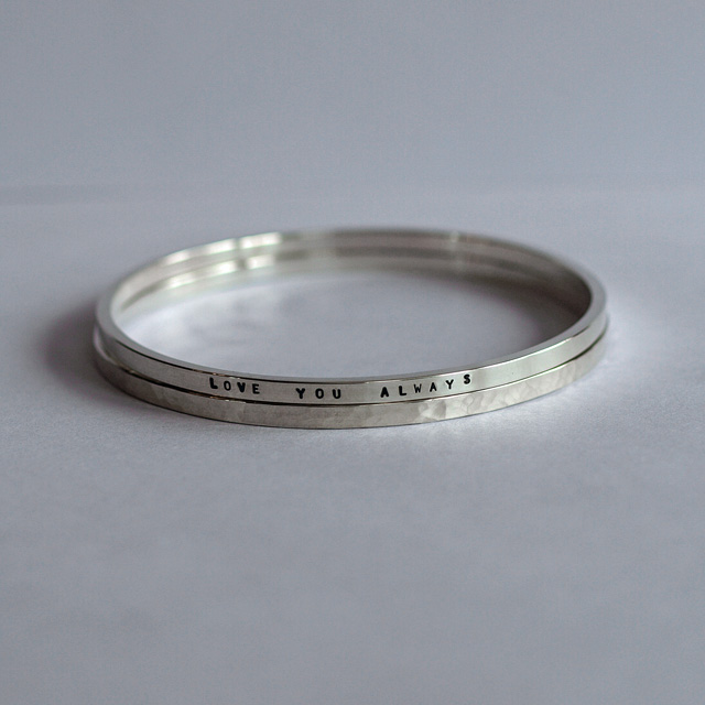 Solid Silver Bangle Set - Double Sterling Silver Personalised Bangles