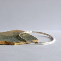 Silver Bangle with 9ct Gold Heart - Sterling Silver Bangles