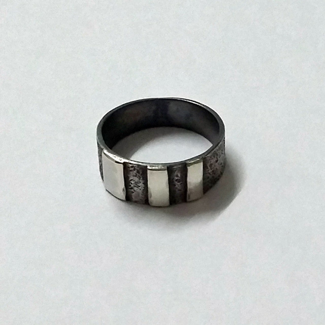 Oxidized Sterling Silver Men's Ring with Line Detail - handmade jewellery