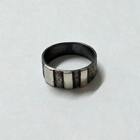 Oxidised Sterling Silver Men's Ring with Line Detail - handmade jewellery
