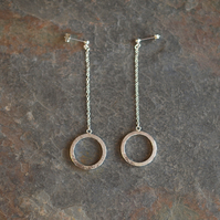 Circle Earrings, Sterling Silver Drop Hoop Earrings, long earrings
