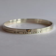 Personalised Stacking Silver Bangles with Gold Heart - Double Bracelets