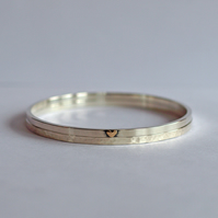 Silver Bangles, Double Bracelets with Hammered Texture and Gold Heart