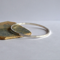 Hammered Textured Silver Bangle Bracelet - Sterling Bangles